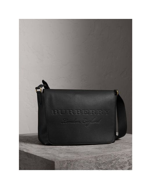 19a14e272b ... Burberry - Black Large Embossed Leather Messenger Bag - Lyst