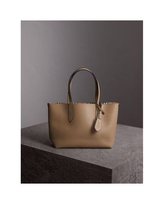 Burberry | Natural The Small Reversible Tote In Haymarket Check And Leather Mid Camel | Lyst