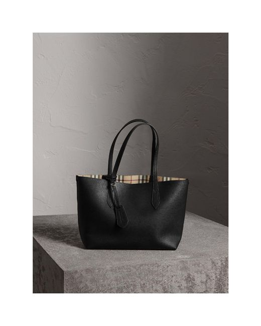 Burberry   The Small Reversible Tote In Haymarket Check And Leather Black   Lyst