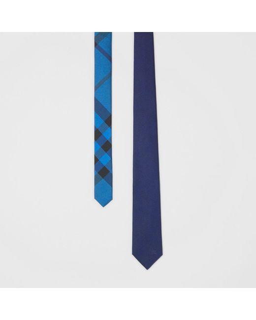 e3b4ee2d08a Burberry - Blue Slim Cut Check Silk Twill Tie for Men - Lyst ...