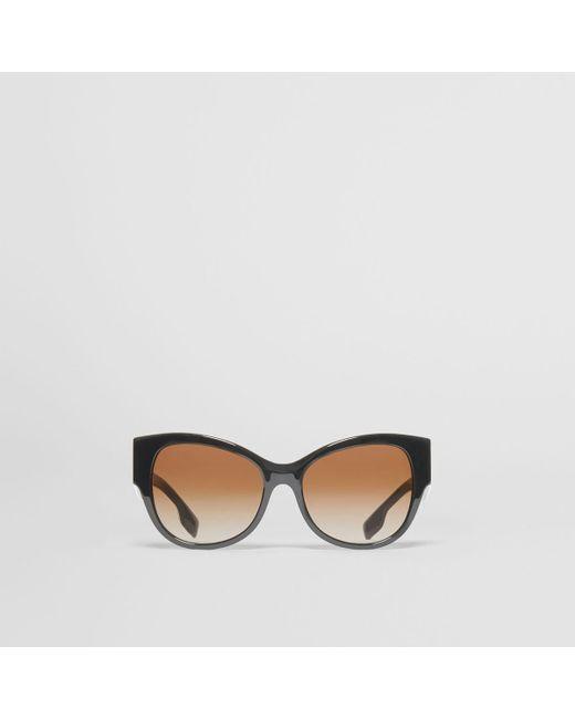 0a493f4ba8cd Burberry - Black Monogram Detail Butterfly Frame Sunglasses - Lyst ...