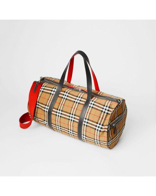 9529402bb1da ... Burberry - Multicolor Large Vintage Check And Leather Barrel Bag for Men  - Lyst ...