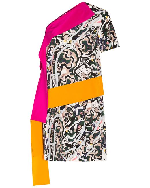 MSGM | Natural One Shoulder Printed Mini Dress | Lyst