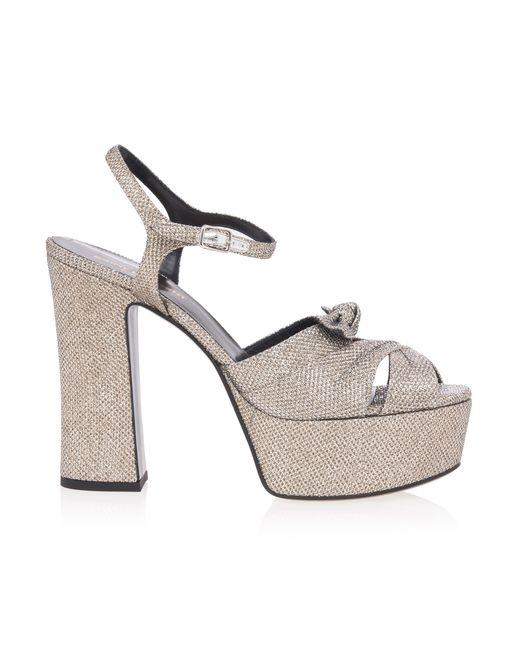 Saint Laurent | Gray Baobab Python Wedge Sandals | Lyst