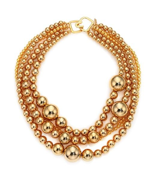 Kenneth Jay Lane | Metallic Multi Strand Bead Necklace | Lyst