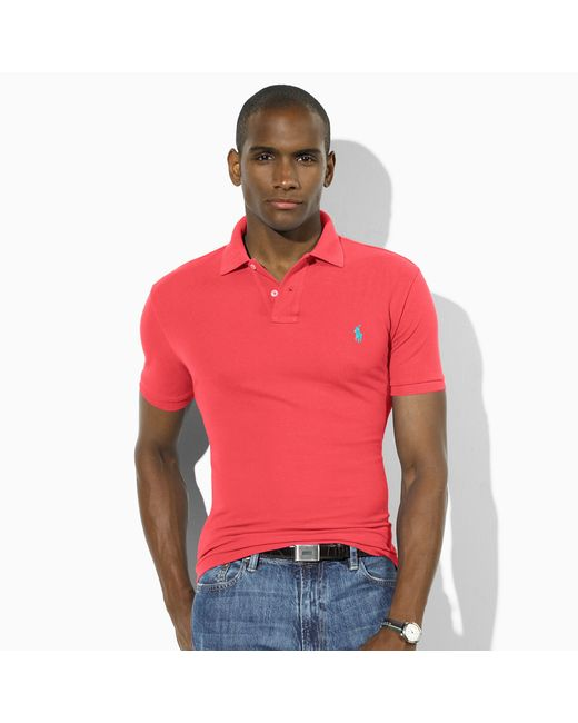 Polo Ralph Lauren | Red Slim-fit Mesh Polo Shirt for Men | Lyst