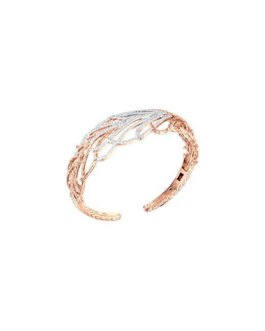 John Hardy | Pink Classic Chain Rose Gold Diamond Feather Cuff | Lyst