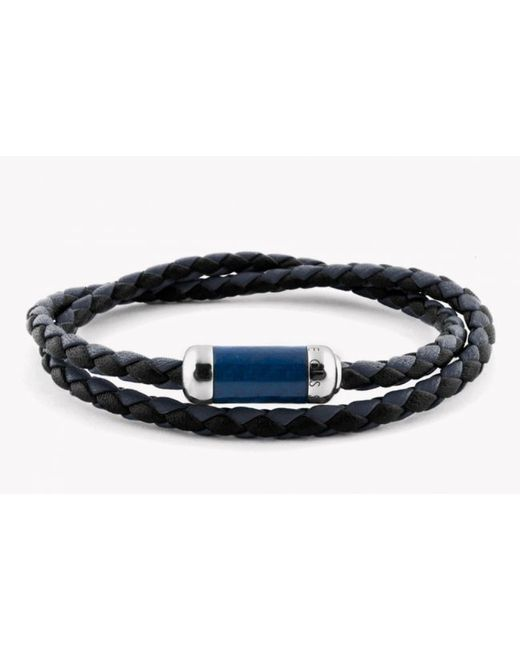 Tateossian | Blue Montecarlo Bracelet In Navy Leather With Silver And Enamel Clasp for Men | Lyst