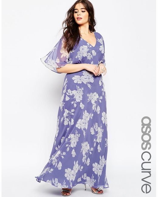 Asos wedding maxi dress in soft rose print in blue multi for Print maxi dress for wedding
