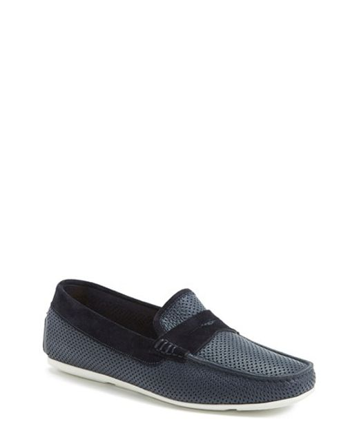 Santoni | Blue 'tanton' Perforated Leather Driving Shoe for Men | Lyst