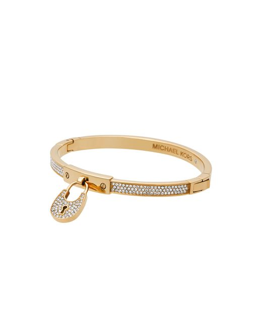 Michael Kors | Brown Padlock Rose Gold-tone Toggle Bracelet | Lyst