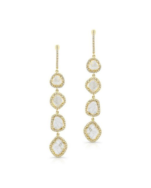 Anne Sisteron - 14kt Yellow Gold 4 Diamond Sliced Drop Earrings - Lyst