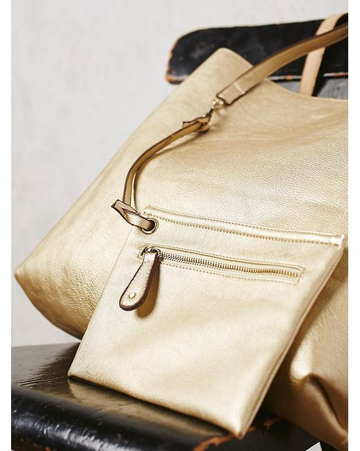 Free People | Metallic Slouchy Vegan Tote | Lyst