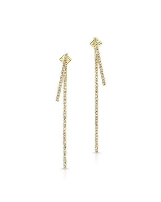 Anne Sisteron | 14kt Yellow Gold Diamond Double Bar Earrings | Lyst