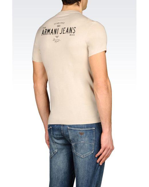 armani jeans jersey t shirt in beige for men save 52 lyst. Black Bedroom Furniture Sets. Home Design Ideas