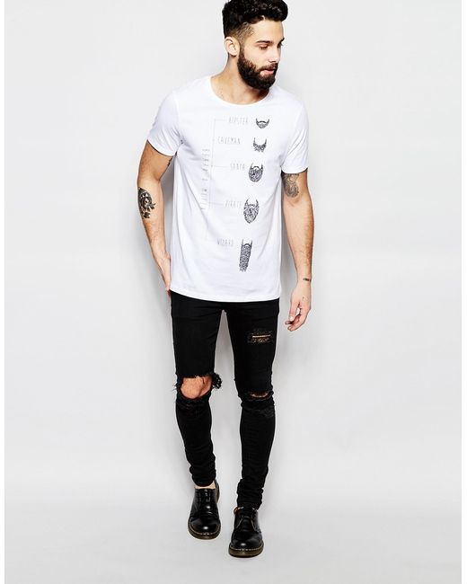 Asos t shirt with hipster beard print in white for men lyst Indie fashion style definition