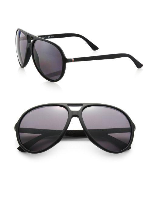 ba2980a6467 Gucci Medium Aviator Sunglasses With Gucci Logo On Temple ...
