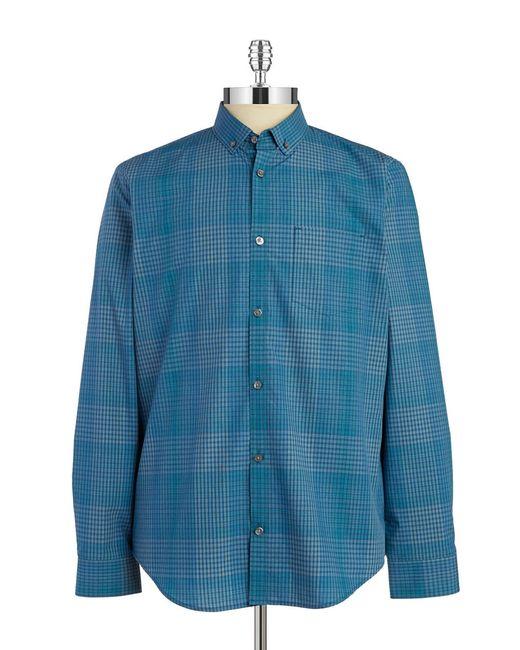 Calvin Klein | Blue Shadow Plaid Sportshirt for Men | Lyst
