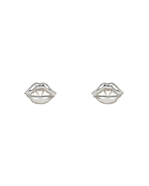 Bernard Delettrez | Metallic Lips Earrings Silver | Lyst