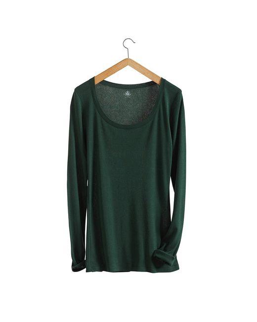 Petit Bateau   Green Women's Long-sleeved, Scoop Neck Tee In Light Cotton   Lyst