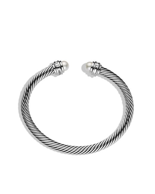 David Yurman | White Cable Classics Bracelet With Pearls And Diamonds, 5mm | Lyst