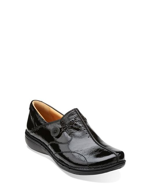 clarks un loop patent leather slip ons in black lyst