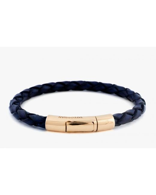 Tateossian | Blue Single Wrap Scoubidou Navy Leather Bracelet With 18k Yellow Gold Clasp for Men | Lyst