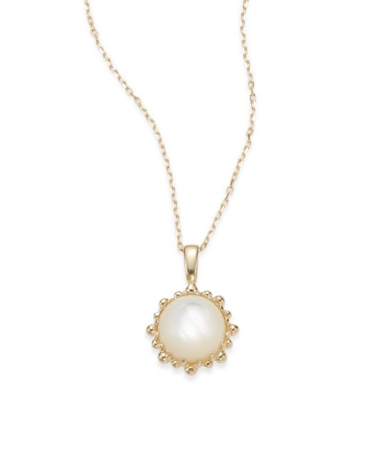 Anzie | Metallic Dew Drop Mother-of-pearl & 14k Yellow Gold Necklace | Lyst
