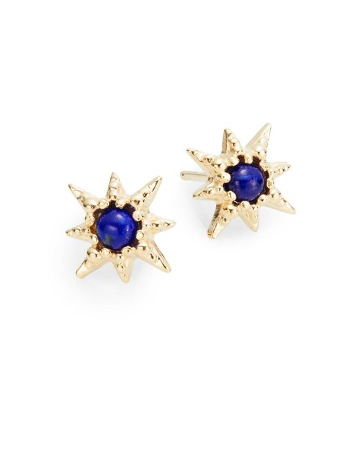 Anzie | Blue Lapis & 14k Yellow Gold Stud Earrings | Lyst