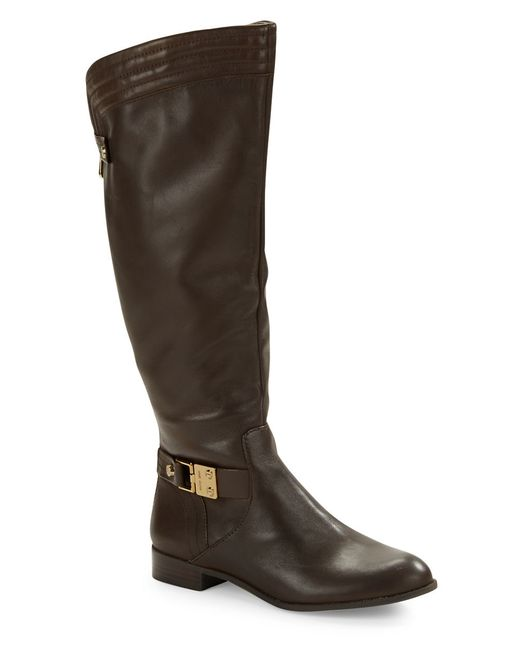 Anne Klein | Brown Kaydon - Wide Calf Leather Boots | Lyst