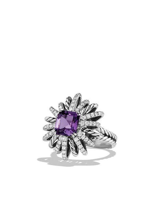 David Yurman | Metallic Starburst Ring With Diamonds And Amethyst In Silver, 23mm | Lyst