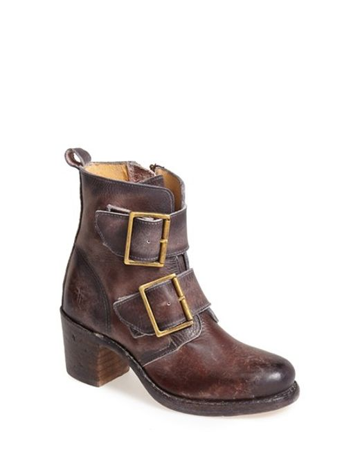 Frye | Brown 'sabrina' Double Buckle Bootie | Lyst