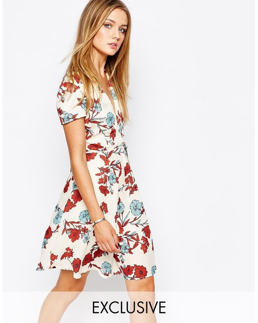 Glamorous | White Wrap Front Tea Dress In Vintage Floral | Lyst