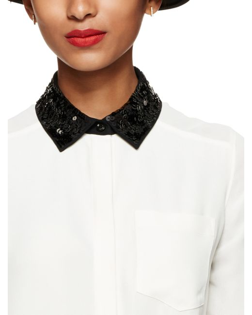 Kate Spade | Natural Sequin Collar Shirttail Top | Lyst