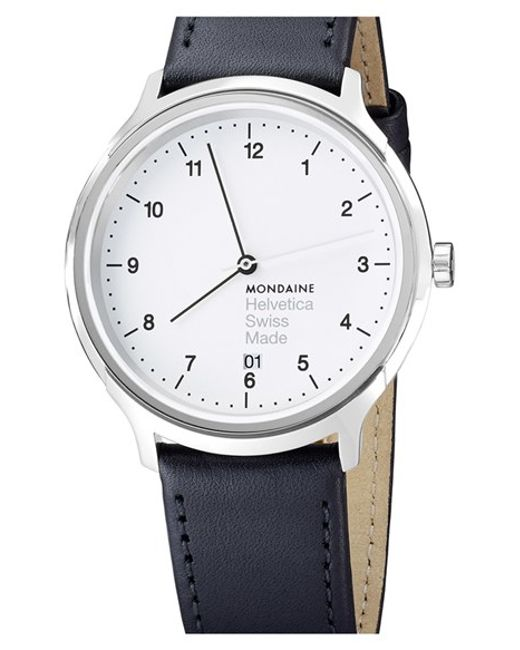 Mondaine | Metallic 'helvetica No.1 Regular' Round Leather Strap Watch | Lyst
