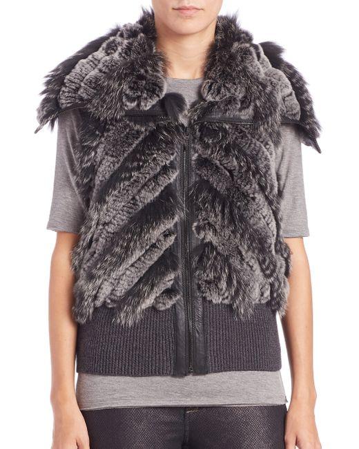 Elie Tahari | Gray Karina Fur Vest | Lyst