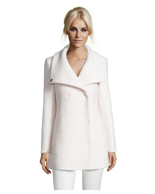 Catherine Malandrino | White Diamond Textured Funnel Neck Wool Coat | Lyst