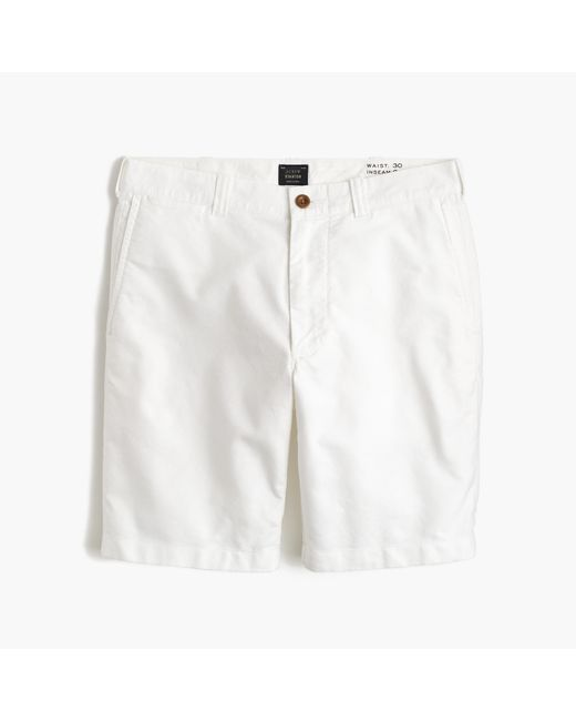 "J.Crew | White 9"" Short In Yarn-dyed Oxford Cloth for Men 