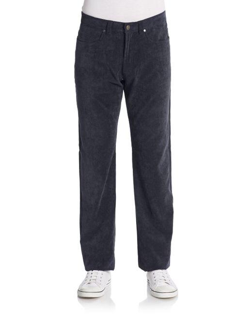 Saks Fifth Avenue | Blue Straight-leg Corduroy Pants for Men | Lyst