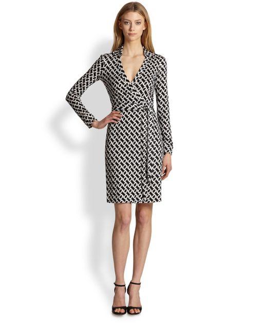 Diane von Furstenberg   Black 'new Jeanne Two' Print Silk Wrap Dress   Lyst