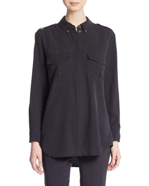 Equipment major silk roll tab sleeve shirt in black lyst for Equipment black silk shirt