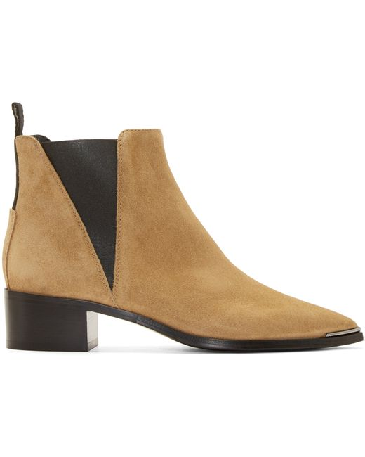 acne beige suede ankle boots in brown beige lyst