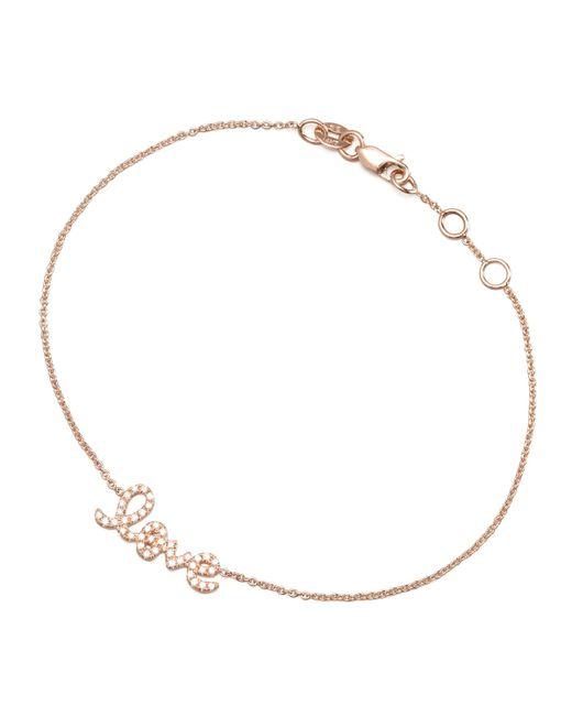 Sydney Evan   Metallic Rose Gold Diamond Love Bracelet   Lyst