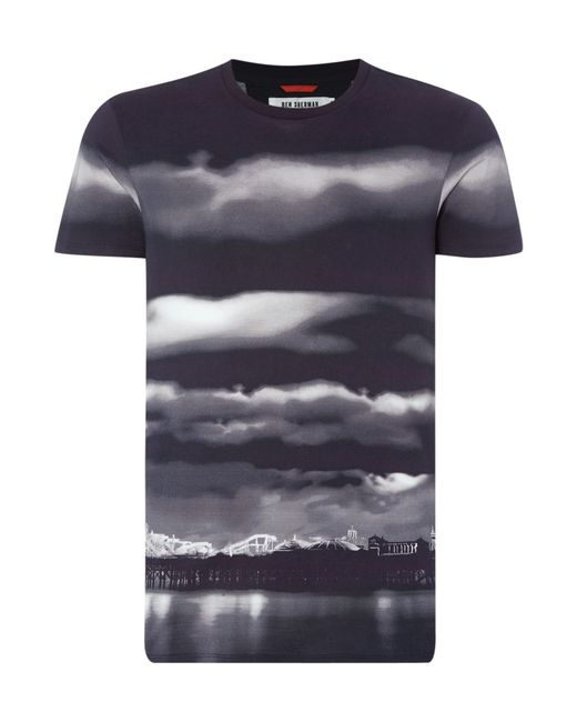 Ben Sherman Brighton Cloud Print T Shirt In Black For Men