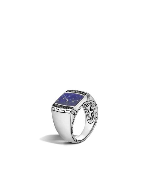 John Hardy | Metallic Classic Chain Signet Ring With Lapis for Men | Lyst