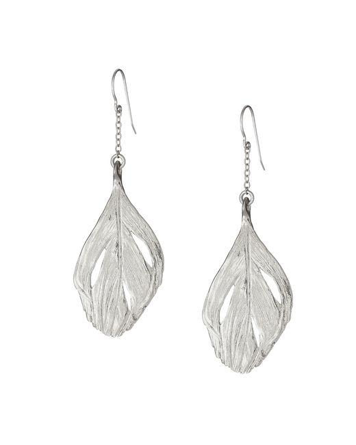 Chupi   Metallic Maxi Swan Feather Earrings Silver   Lyst