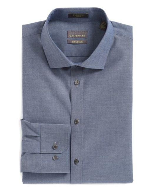 Calibrate extra trim fit non iron stretch cotton dress for Extra slim dress shirt
