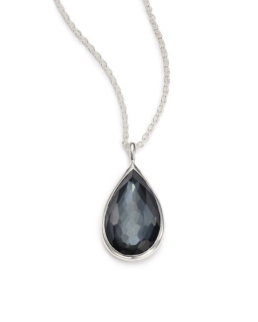 Ippolita | Metallic Rock Candy Hematite, Clear Quartz & Sterling Silver Doublet Pear Pendant Necklace | Lyst