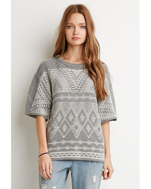 Forever 21 | Gray Marled Diamond-patterned Sweater | Lyst