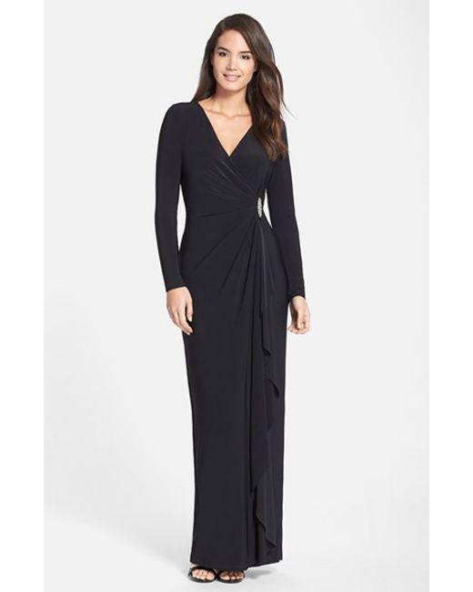 Lauren by Ralph Lauren | Black Embellished Jersey Gown | Lyst